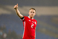 Temporary captain Chris Gunter of Wales gives the thumbs up to fans at full time of the International Friendly match between Wales and Panama at the Cardiff City Stadium, Cardiff, Wales on 14 November 2017. Photo by Mark Hawkins.