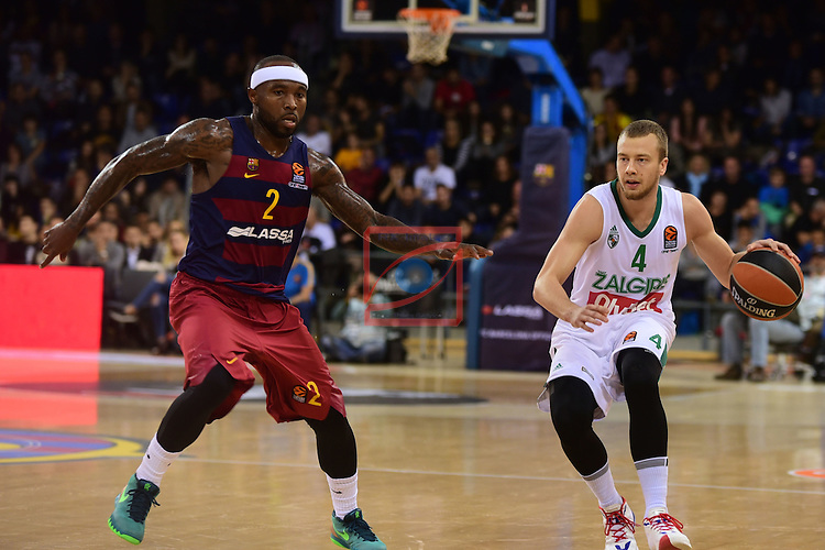 Turkish Airlines Euroleague 2016/2017.<br /> Regular Season - Round 6.<br /> FC Barcelona Lassa vs Zalgiris Kaunas: 92-86.<br /> Tyrese Rice vs Lukas Lekavicius.