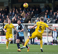 Sam Wood of Wycombe Wanderers in action during the Sky Bet League 2 match between Wycombe Wanderers and Bristol Rovers at Adams Park, High Wycombe, England on 27 February 2016. Photo by Andy Rowland.