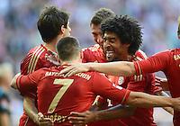 FUSSBALL   1. BUNDESLIGA  SAISON 2012/2013   7. Spieltag FC Bayern Muenchen - TSG Hoffenheim    06.10.2012 Jubel nach dem Tor zum 1:0 durch Franck Ribery mit Dante(v. li., FC Bayern Muenchen)