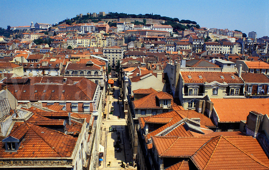 Lisbon, Portugal.  The old town and St. George's Castle, Castelo Sao Jorge..