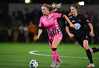 midfielder Ludmila Matavkova of Sporting Charleroi pictured with Woluwe's Marie Bougard (10) during a female soccer game between Sporting Charleroi and FC Femina White Star Woluwe on the second matchday of the 2020 - 2021 season of Belgian Scooore Women s SuperLeague , friday 4 th of September 2020  in Marcinelle , Belgium . PHOTO SPORTPIX.BE | SPP | DAVID CATRY