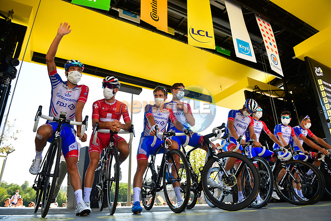 Groupama-FDJ at sign on before the start of Stage 8 of Tour de France 2020, running 141km from Cazeres-sur-Garonne to Loudenvielle, France. 5th September 2020.<br /> Picture: ASO/Pauline Ballet   Cyclefile<br /> All photos usage must carry mandatory copyright credit (© Cyclefile   ASO/Pauline Ballet)