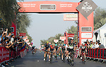 Mark Cavendish (GBR) Team Dimension Data wins Stage 1 Emirates Motor Company Stage of the 2017 Abu Dhabi Tour, running 189km from Madinat Zayed through the desert and back to Madinat Zayed, Abu Dhabi. 23rd February 2017<br /> Picture: ANSA/Claudio Peri | Newsfile<br /> <br /> <br /> All photos usage must carry mandatory copyright credit (&copy; Newsfile | ANSA)