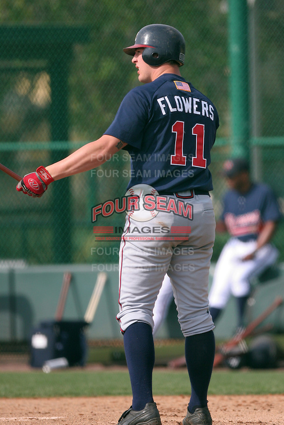 Atlanta Braves minor leaguer Tyler Flowers during Spring Training at Disney's Wide World of Sports on March 14, 2007 in Orlando, Florida.  (Mike Janes/Four Seam Images)