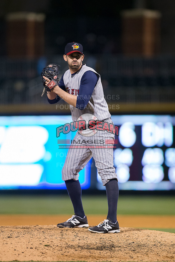 Toledo Mud Hens relief pitcher Josh Zeid (26) looks to his catcher for the sign against the Charlotte Knights at BB&T BallPark on April 27, 2015 in Charlotte, North Carolina.  The Knights defeated the Mud Hens 7-6 in 10 innings.   (Brian Westerholt/Four Seam Images)