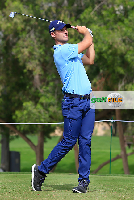 Andrea Pavan (ITA) on the 4th tee during Round 1 of the Omega Dubai Desert Classic, Emirates Golf Club, Dubai,  United Arab Emirates. 24/01/2019<br /> Picture: Golffile | Thos Caffrey<br /> <br /> <br /> All photo usage must carry mandatory copyright credit (© Golffile | Thos Caffrey)
