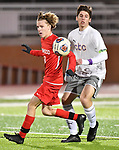 Kirkwood forward Elijah McDowell (left) and CBC defender Damian Clucas vie for the ball. CBC played Kirkwood in a Class 4 sectional soccer game at Kirkwood High School in Kirkwood on Thursday November 14, 2019.<br /> Tim Vizer/Special to STLhighschoolsports.com