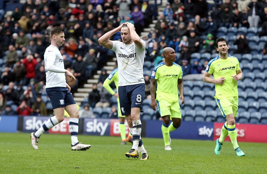Preston North End's Alan Browne reacts after missing a penalty late in the first half<br /> <br /> Photographer Rich Linley/CameraSport<br /> <br /> The EFL Sky Bet Championship - Preston North End v Derby County - Monday 2nd April 2018 - Deepdale Stadium - Preston<br /> <br /> World Copyright &copy; 2018 CameraSport. All rights reserved. 43 Linden Ave. Countesthorpe. Leicester. England. LE8 5PG - Tel: +44 (0) 116 277 4147 - admin@camerasport.com - www.camerasport.com