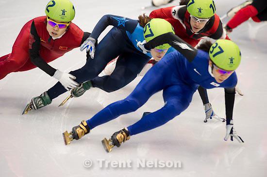 Trent Nelson  |  The Salt Lake Tribune.Ladies' 1500m, semifinal 2, Short Track Speed Skating, at the XXI Olympic Winter Games in Vancouver, Saturday, February 20, 2010. Erika Huszar 124, Evgenia Radanova 104, Cho Ha-Ri 137, Katherine Reutter 157, Kalyna Roberge 107, Wang Meng 112