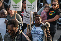 The Grenfell silent walk on the first annicersary of the disaster at Grenfell Tower. Firefighters, relatives and the local community demand justice for the dead and the survivors. 14-5-18