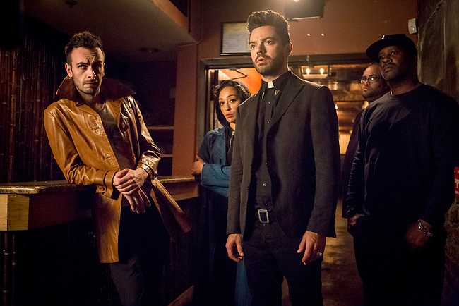Joseph Gilgun as Cassidy, Ruth Negga as Tulip O'Hare, Dominic Cooper as Jesse Custer - Preacher _ Season 2, Episode 3 - Photo Credit: Skip Bolen/AMC/Sony Pictures Television