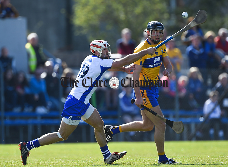 Stephen Daniels of Waterford  in action against Cathal Malone of Clare during their National League game at Cusack Park. Photograph by John Kelly.