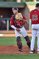 Elizabethton Twins catcher Ben Rortvedt (33) leaves the mound during a game against the Bristol Pirates at Joe O'Brien Field on July 30, 2016 in Elizabethton, Tennessee. The Twins defeated the Pirates 6-3. (Tony Farlow/Four Seam Images)