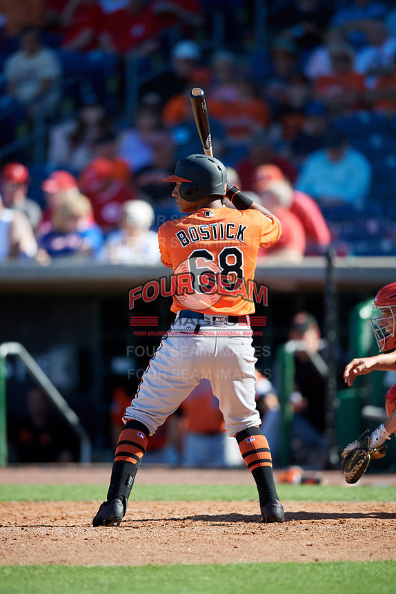 Baltimore Orioles third baseman Chris Bostick (68) at bat during a Grapefruit League Spring Training game against the Philadelphia Phillies on February 28, 2019 at Spectrum Field in Clearwater, Florida.  Orioles tied the Phillies 5-5.  (Mike Janes/Four Seam Images)