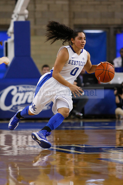 UK guard Jennifer O'Neill dribbles the ball during the second half of the UK Hoops vs. Auburn women's basketball game at Memorial Coliseum in Lexington, Ky., on Sunday, January 20, 2013. O'Neill scored the second most points for UK with 17 points. Photo by Tessa Lighty | Staff