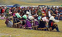 Tibetan Women against the Man in a Tug of War competition. Tibet's province of Nakchu in Tibet hosts many festivals throughout the year, but one stands out more than any other; it is the highest horse racing festival in the world – a spectacle of colour, festivities and endurance for participants and visitors alike.<br />