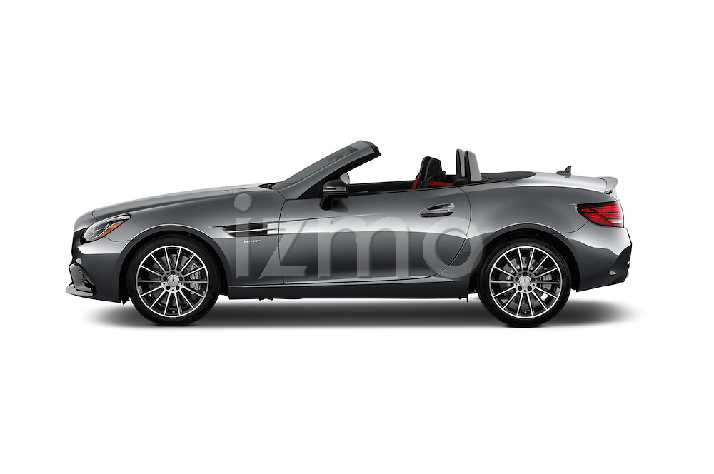 Car Driver side profile view of a 2018 Mercedes Benz SLC-Roadster AMG-SLC43 2 Door Convertible Side View