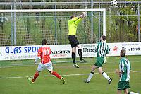VOETBAL: JOURE: 30-04-2016, SC Joure - SV Mulier, uitslag 2-1, SC Joure keeper Lars Wijnalda redt, ©foto Martin de Jong