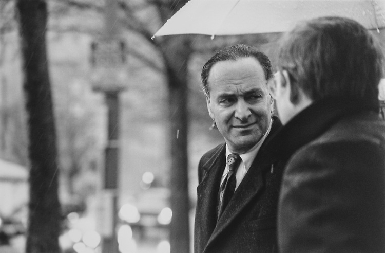 Rep. Chuck Schumer, D-N.Y., enroute to Former Rep. Mike Synar's memorial service at St. John's Episcopal Church across from Washington D.C., in January 1996. (Photo by Maureen Keating/CQ Roll Call via Getty Images)