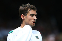 Guido Pella (ARG) during his match against Roberto Bautista Agut (ESP) in their Gentleman's Singles Quarter Final match<br /> <br /> Photographer Rob Newell/CameraSport<br /> <br /> Wimbledon Lawn Tennis Championships - Day 9 - Wednesday 10th July 2019 -  All England Lawn Tennis and Croquet Club - Wimbledon - London - England<br /> <br /> World Copyright © 2019 CameraSport. All rights reserved. 43 Linden Ave. Countesthorpe. Leicester. England. LE8 5PG - Tel: +44 (0) 116 277 4147 - admin@camerasport.com - www.camerasport.com