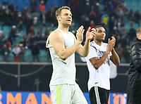 Torwart Manuel Neuer (Deutschland Germany) bedankt sich bei den Fans - 15.11.2018: Deutschland vs. Russland, Red Bull Arena Leipzig, Freundschaftsspiel DISCLAIMER: DFB regulations prohibit any use of photographs as image sequences and/or quasi-video.