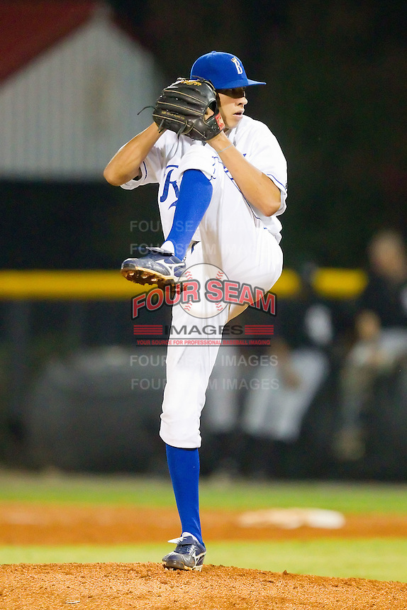 Relief pitcher Joseph Leaper #28 of the Burlington Royals in action against the Bristol White Sox at Burlington Athletic Stadium August 13, 2010, in Burlington, North Carolina.  Photo by Brian Westerholt / Four Seam Images
