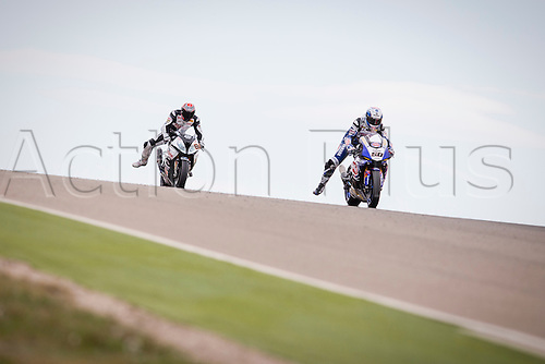 03.04.2016. Motorland, Aragon, Spain, World Championship Motul FIM of Superbikes. S. Guintoli #50, Yamaha YFZ R1 rider of Superbike  and Jordi Torres #81, BMW S1000 RR rider of Superbike in action during   the Race  in the World Championship Motul FIM of Superbikes from the Circuito de Motorland.