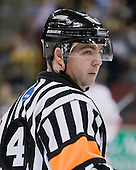 Jeff Bunyon followed in his father's footsteps by becoming a referee. - The Boston University Terriers defeated the Merrimack College Warriors 6-4 (EN) on Saturday, January 16, 2010, at Agganis Arena in Boston, Massachusetts.