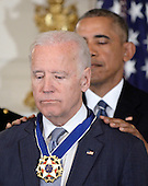 United States President Barack Obama presents the Medal of Freedom to US Vice President Biden during an event  in the State Dinning room of the White House, January 12, 2017 in Washington, DC. <br /> Credit: Olivier Douliery / Pool via CNP