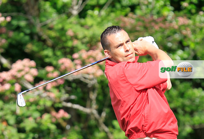 Marcus Taglienti (Wicklow) on the 2nd tee during Round 1 of the Irish Mid-Amateur Open Championship at New Forest on Saturday 20th June 2015.<br /> Picture:  Thos Caffrey / www.golffile.ie