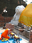 Monk Praying at Reclining Buddha-Wat Yai Chaya
