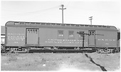 #54 combined baggage &amp; RPO car at Durango.  Side viewo<br /> D&amp;RGW  Durango, CO  Taken by Dunscomb, Guy L. - 5/5/1942