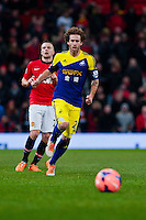Sunday 05 January 2014<br /> Pictured:Jose Canas runs forward<br /> Re: Manchester Utd FC v Swansea City FA cup third round match at Old Trafford, Manchester