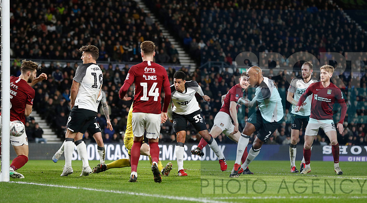 Andre Wisdom of Derby County scores the first goal during the FA Cup match at the Pride Park Stadium, Derby. Picture date: 4th February 2020. Picture credit should read: Darren Staples/Sportimage