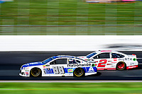 July 16, 2017 - Loudon, New Hampshire, U.S. - Dale Earnhardt Jr., Monster Energy NASCAR Cup Series driver of the Nationwide Chevrolet (88), passes Brad Keselowski,driver of the Wurth Ford (2), at the NASCAR Monster Energy Overton's 301 race held at the New Hampshire Motor Speedway in Loudon, New Hampshire. Eric Canha/CSM