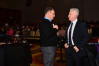 Los Angeles, CA - Thursday January 12, 2017: Rory Dames, Tom Sermanni during the 2017 NWSL College Draft at JW Marriott Hotel.