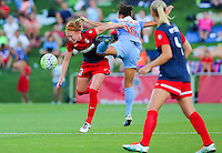 Boyds, MD - Saturday July 09, 2016: Victoria Huster, Vanessa DiBernardo during a regular season National Women's Soccer League (NWSL) match between the Washington Spirit and the Chicago Red Stars at Maureen Hendricks Field, Maryland SoccerPlex.