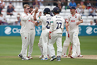 Simon Harmer of Essex celebrates taking the wicket of Tom Banton during Essex CCC vs Somerset CCC, Specsavers County Championship Division 1 Cricket at The Cloudfm County Ground on 25th June 2019
