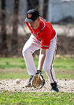 WATERBURY,  CT-041319JS21- Watertown's Cameron Guerrera (5) scoops up a ground ball during their game with Sacred Heart Saturday at Waterville Park in Waterbury. <br /> Jim Shannon Republican American