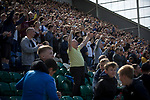 Home supporters in the Alan Kelly Stand celebrating the only goal as Preston North End take on Reading in an EFL Championship match at Deepdale. The home team won the match 1-0, Jordan Hughill scoring the only goal after 22nd minutes, watched by a crowd of 11,174.