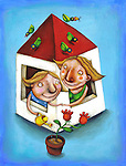 Illustration of mother and daughter watering flower plant together through house window