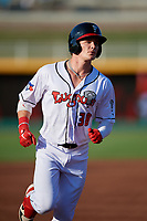 Lansing Lugnuts Griffin Conine (38) rounds the bases after hitting a home run during a Midwest League game against the Burlington Bees on July 18, 2019 at Cooley Law School Stadium in Lansing, Michigan.  Lansing defeated Burlington 5-4.  (Mike Janes/Four Seam Images)
