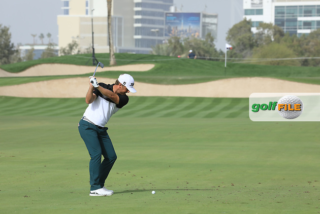Pelle Edberg (SWE) in action during the first round of the Omega Dubai Desert Classic, Emirates Golf Club, Dubai, UAE. 24/01/2019<br /> Picture: Golffile | Phil Inglis<br /> <br /> <br /> All photo usage must carry mandatory copyright credit (&copy; Golffile | Phil Inglis)