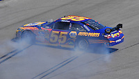 Apr 26, 2009; Talladega, AL, USA; NASCAR Sprint Cup Series driver Michael Waltrip spins during the Aarons 499 at Talladega Superspeedway. Mandatory Credit: Mark J. Rebilas-