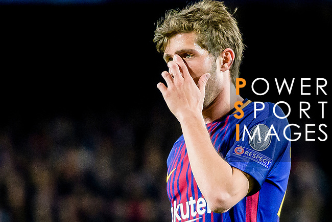 Sergi Roberto Carnicer of FC Barcelona reacts during the UEFA Champions League 2017-18 quarter-finals (1st leg) match between FC Barcelona and AS Roma at Camp Nou on 05 April 2018 in Barcelona, Spain. Photo by Vicens Gimenez / Power Sport Images