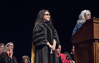 Wendy Sternberg, Vice President for Academic Affairs and Dean of the College and history Associate Professor Alexandra Puerto, recipient of the Janosik-Sterling Award for Service. The class of 2021 are welcomed to Occidental College by trustees, faculty and staff in Thorne Hall on Aug. 29, 2017 during Oxy's 130th Convocation ceremony, a tradition that formally marks the start of the academic year and welcomes the new class.<br /> (Photo by Marc Campos, Occidental College Photographer)