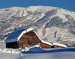The classic Moore barn in Steamboat Springs, Colorado Winter.