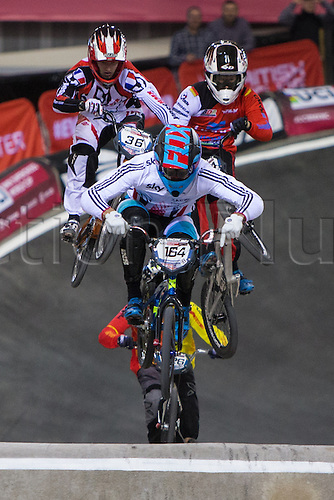 09.04.2016. National Cycling Centre, Manchester, England. UCI BMX Supercross World Cup day 1. Quillan Isidore leads from Axel Le Nagard in a heat.