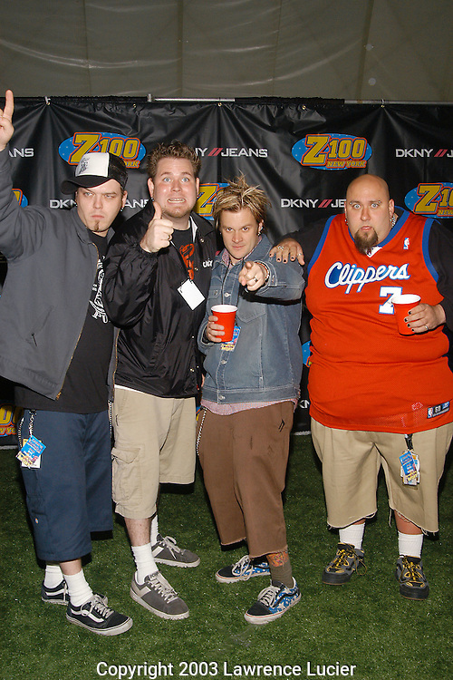 EAST RUTHERFORD - JUNE 1: Recording artists Bowling for Soup arrive June 1, 2003, in the press room at Z100's ZOOTOPIA 2003 at Giants Stadium in East Rutherford, New Jersey. (Photo by Lawrence Lucier)